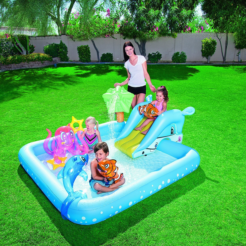 Piscina hinchable infantil fantastic con tobog n 3 a os for Piscinas hinchables