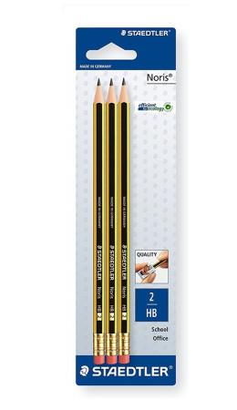 Set 3 lápices de grafito con goma incorporada de Staedtler