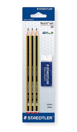 et 3 lápices HB + goma de borrar, Staedtler