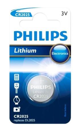 Phillips, pila botón litio CR2025, 3V