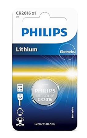 Phillips, pila botón CR2016, 3V
