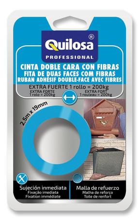 Cinta doble cara con fibras, 2.5 m x 19 mm, extra fuerte, Quilosa
