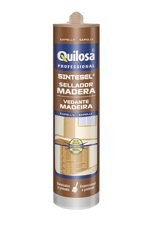 Silicona Sintesel madera, color sapelly, 300 ml, Quilosa