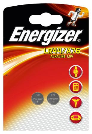 Energizer, pack 2 pilas botón LR44, 1,5V