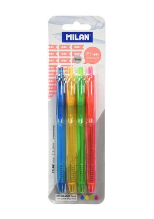 Blíster con 4 boligrafos P1 de colores de Milan