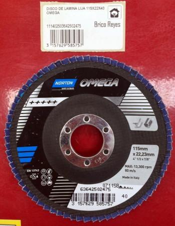 Disco abrasivo de láminas grano 40, Ø115. Para acero. Norton 13743