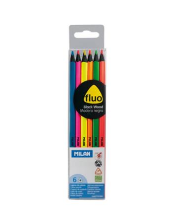 Estuche con 6 lápices fluor de Milan