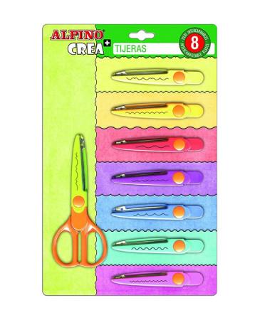 Pack tijera escolar con 8 cortes especiales, diferentes colores de Alpino