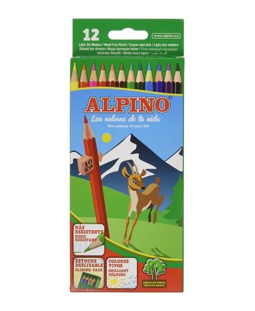 Estuche 12 lápices de colores libres de madera de Alpino