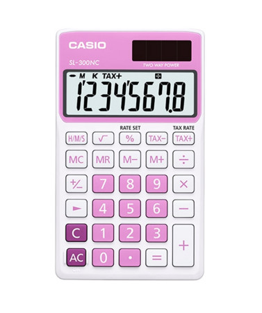 Calculadora electrónica de bolsillo, color rosa, Casio