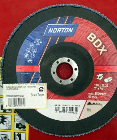 Disco de láminas lija grano 80, Ø180. Para acero. Norton BDX