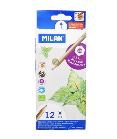 Estuche 12 lapices de colores mina grande de Milan