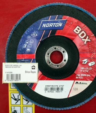 Disco de láminas lija grano 120, Ø180. Para acero. Norton BDX