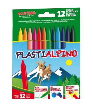 Estuche 12 ceras plásticas de colores de Alpino