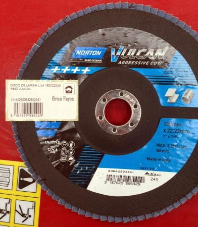 Disco de láminas lija grano Z40, Ø180. Para acero. Norton Vulcan Aggressive Cut R842