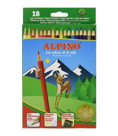 Estuche 18 lápices sin madera de Alpino