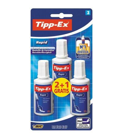Corrector fluido 2+1, color blanco, secado rápido, 20 ml, Tipp-Ex