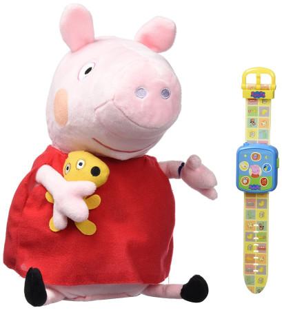 Peluche Peppa Pig y su Smartwatch, Bandai 84870