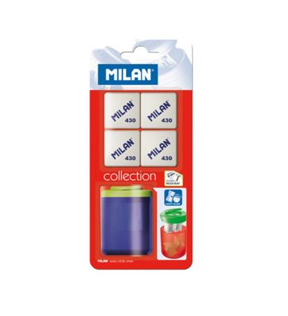 Sacapuntas con depósito y 4 gomas de borrar de Milan