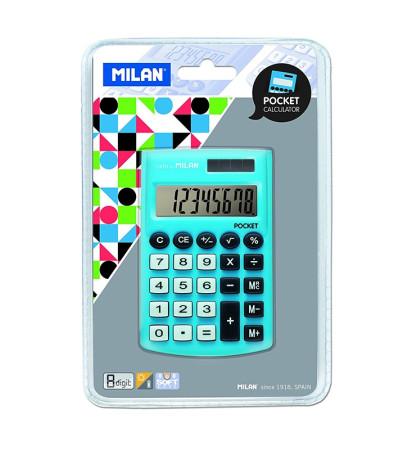 Calculadora electrónica azul de bolsillo de Milan