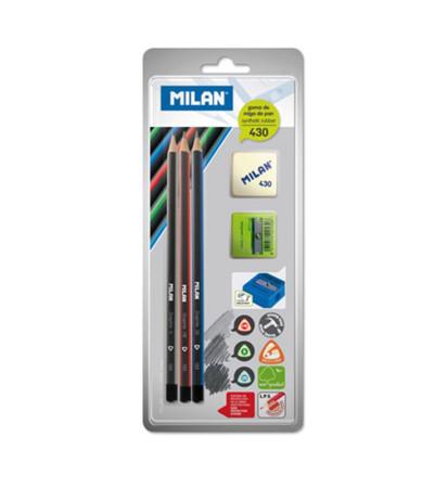 Blíster surtido de 3 lápices, sacapuntas y goma de borrar de Milan