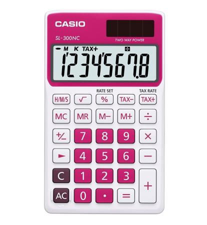 Calculadora de bolsillo roja de Casio