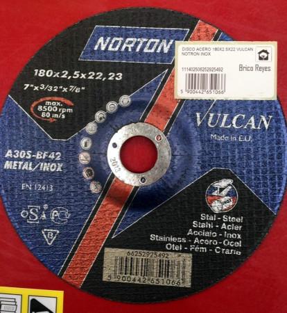 Disco de corte para metal + acero inox, Ø180. Norton A30S