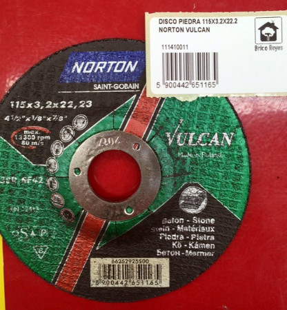 Disco de corte para piedra, Ø115. Norton C30R-BF42