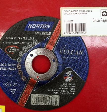 Disco de corte para acero, Ø115. Norton A30S-BF42