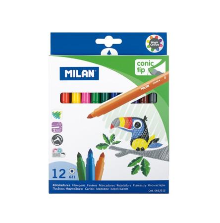 Estuche 12 rotuladores punta conica de Milan