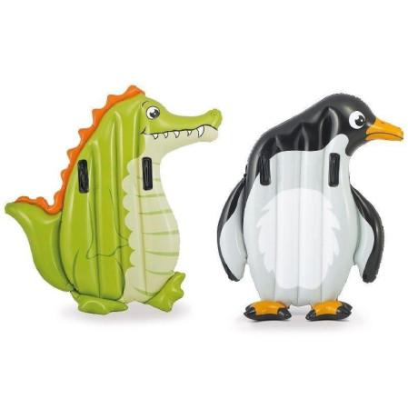 Colchoneta hinchable de cocodrilo/pingüino, asas de sujeción. Intex 58151