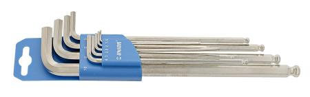 uego de llaves allen esféricas largas, en colgador de plástico, 9 pcs, Unior 220/3SLPH