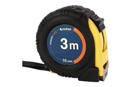 Flexómetro recubierto de goma, 3 m x 16 mm de Cofan 10503016