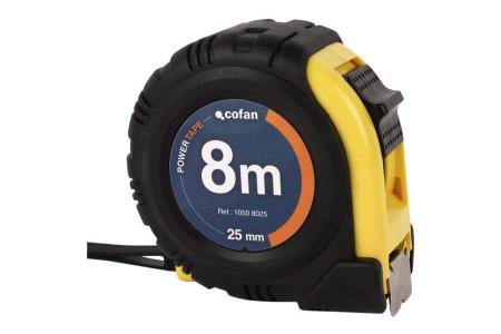 Flexómetro recubierto de goma, 8 m x 25 mm de Cofan 10508025