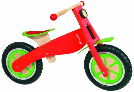 Bicicleta sin pedales de madera, color rojo, de Goula