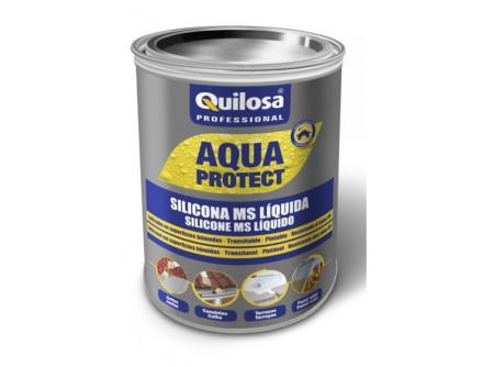Silicona MS líquida AQUA PROTECT, impermeabilizante, blanco, 1 kg de Quilosa