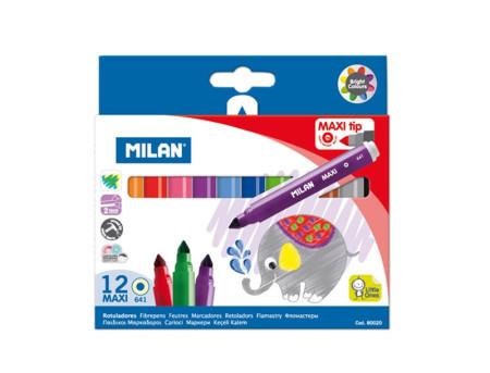 Estuche de 12 rotuladores de colores maxi de Milan
