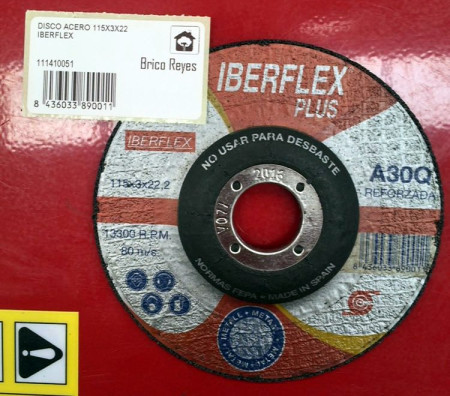 Disco de corte para acero, Ø115. Iberflex A30Q