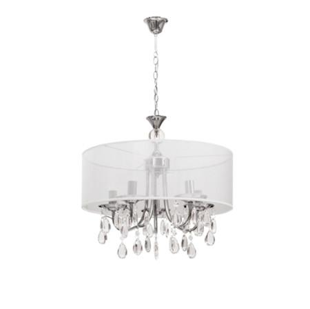 Lámpara colgante de techo de la serie Zulmira, color cromo/blanco de Fabrlamp