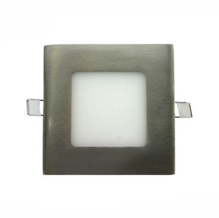 Downlight LED cuadrado color níquel de 5W de la serie Agamenom de Led Ecoplus