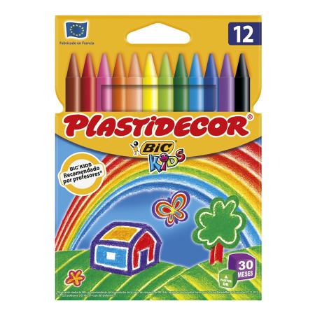 Pack 12 ceras de colores Plastidecor, Bic