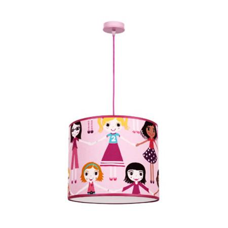 Lámpara colgante de techo infantil de la serie Muñecas, de color rosa, de Fabrilamp