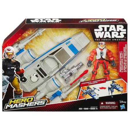 Star Wars vehículo X-Wing con piloto de la Resistencia