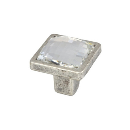 Pomo diseño italiano, forma cuadrada, Swarosvski-plata mate de Nesu
