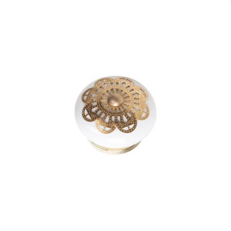 Pomo cerámica con aplique de latón, 40 mm, Nesu 1066LT
