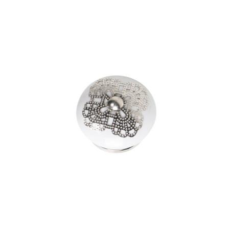 Pomo cerámica con aplique de plata, 40 mm