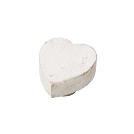 Tirador para mueble, forma corazón, madera decapada, color blanco