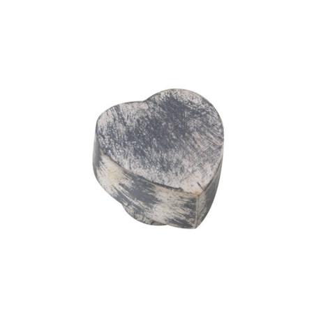 Tirador para mueble, forma corazón, madera decapada, color gris