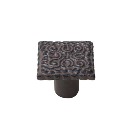 Pomo hierro envejecido, patina marrón, forma cuadrada, 32 x 32 mm