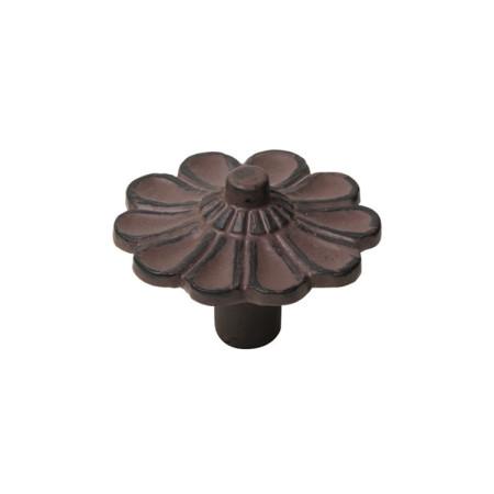 Pomo hierro envejecido, patina marrón, 47 mm